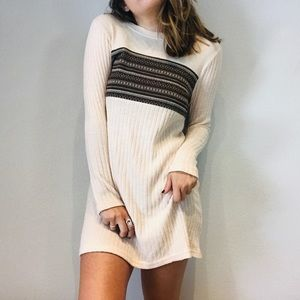 Altar'd State cream ribbed sweater style dress